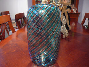 "13 1/2"" MURANO signed VENINI VASE ""A CANNE"" Turquoise Glass"