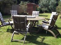 Lovely Garden Table And Six Reclining Chairs