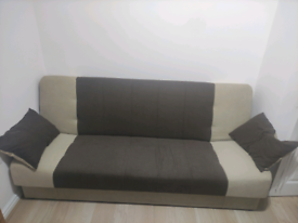 Sofa Bed Click Clack 2 Tone Chocolate an Beige , Fabric 3 seater