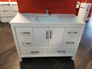 "48"" Solid Wood Vanity with Quartz Top, SINGLE sink - Hot Deal!"