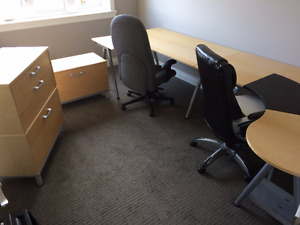 Ikea Desk (x2), Chairs, File Cabinet & Drawers