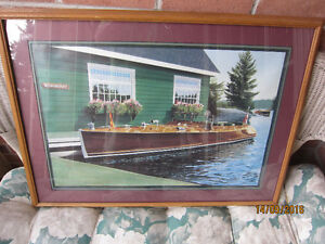 PRINT BOAT AT BOATHOUSE-    DOUBLE MATTED FRAMED