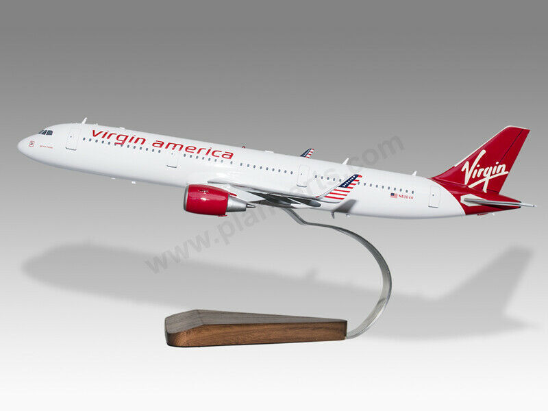 Airbus A321 Neo Virgin America Solid Mahogany Wood Handcrafted Display Model