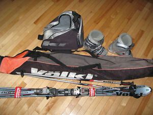 Skis with Poles and Boots. Women's equipment.