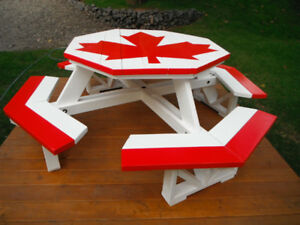 Summer is Coming Folks! - Octagon Picnic Table - Canadian Flag