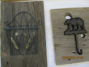 Beautiful cast Iron coat hooks on reclaimed Barnboard Belleville Belleville Area image 9