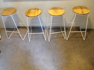 4 x white and timber stools - $30 for all 4
