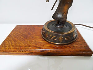 1930s COPPER FIGURAL LAMP charming MAN with AXE oak base CUPCAKE Kitchener / Waterloo Kitchener Area image 7