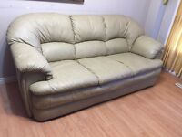 Real leather couch (with free delivery)