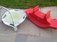 See saw and toy trampoline
