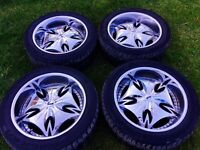 """22"""" DUB RIMS WITH TIRES 305/45/22"""