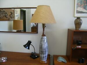 MCM CERAMIC LAMP WITH TEAK TRIM ORG. SHADE Peterborough Peterborough Area image 2