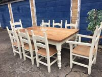 SOLD * SOMEBODY ARRANGE DELIVERY EXTRA LARGE FARMHOUSE TABLE FREE DELIVERY 8 CHAIRS HEAVY OAK