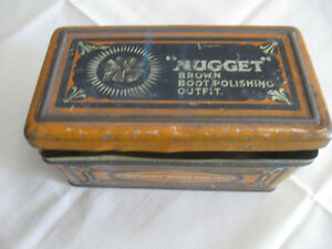 "OLD VINTAGE ENGLISH-MADE ""NUGGET"" BOOTPOLISHING OUTFIT TIN"