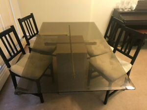 Glass top dining table & 4 chairs for sale - $150