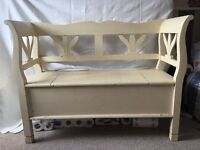 Distressed Cream Painted Dutch wooden settle with really useful box seat storage.