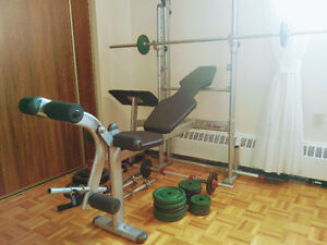 LifeGear Bench with weights + equipment add-ons