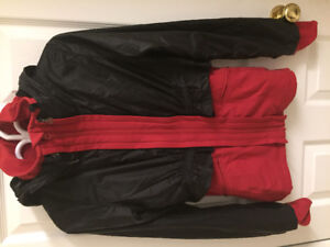 Titika black/red 2 layer windbreaker and jacket sweater size 2