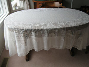 Lace Table cloths (2) Red fabric Napkins! (12)