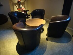 Custom made Oak table and 4 faux leather lounge chairs