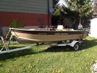 16ft aluminum side console boat with trailer