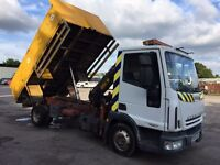 IVECO EUROCARGO 75E17 HIGH SIDED TIPPER WITH 2.5TON HIAB, 2004/04 PLATE.