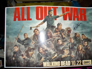The Walking Dead All Out War mini poster signed by Seth Gilliam