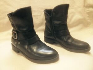 Naturalizer Black Leather Short Winter Moto Boots 7M