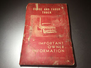 1965 Dodge Fargo CDN Truck Operators Manual S6-S8 FS6-FS8 A100