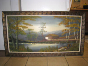 """Large Oil Picture in wood frame, 30"""" X 53"""""""