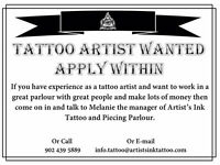 Tattoo and Piercing artists wanted
