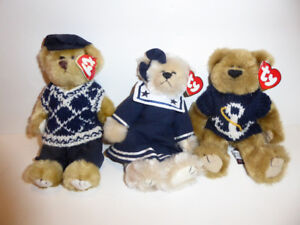 3 VINTAGE TY ATTIC TREASURE COLLECTION TEDDY BEARS - MINT COND.