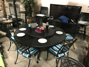 "CLEARANCE!! 71"" Round Aluminum Patio Furniture Dining Set"