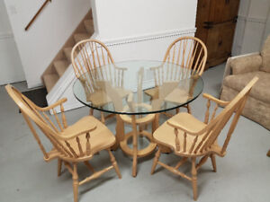 Glass Top White Oak Round Dining Table with Chairs