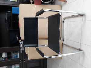 Italian design, chrome+ leather side chairs $100 for set of 4