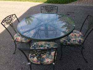 Wrought Iron Glass Top Dining Table and Chairs Set