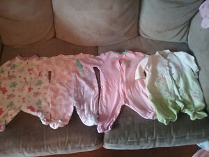 baby girl sleepers mix of 0-6 month
