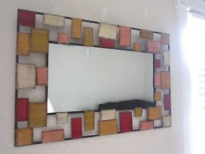 LARGE METAL WALL MIRROR-COLOURFUL-CLEAN-INTACT