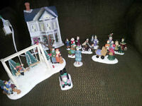 Winter Village House with Light and Figurines