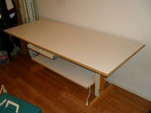 Large sized, homemade, sturdy table. 80 in by 33 in, with shelf.