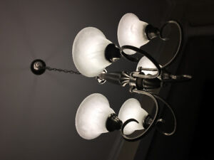 Pewter chandelier and other fixtures