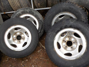"4-Chrome 16"" rims with tires fits 1960-1996 f-series trucks"