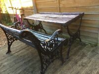 vintage cast iron garden furniture / patio set / bench and table £70