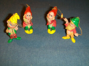 SET OF 4 HARD PLASTIC CHRISTMAS ELVES DECORATION-MACAU-VINTAGE!