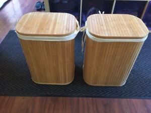 Pair of Bamboo laundry hampers