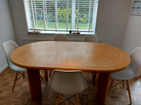 Extra large extending solid wood dining table