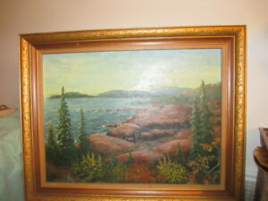 CUMMINGS BEACH AT AUTUMN OIL PAINTING ON CANVAS BY K.BIRT 1974