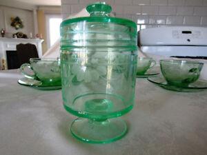 Cornflower Pattern Green Glass Set London Ontario image 5