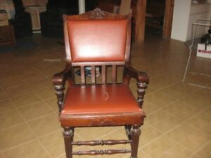 Solid Wood Decorative Leather Chair London Ontario image 1