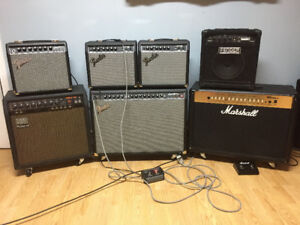 some Fender, Roland, Marshall amps for sale